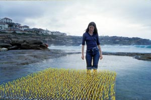 4 Bronwyn Oliver 1959–2006 HANNAH FINK Bronwyn Oliver, with her Wave installation at Gordon's Bay, December 1980.