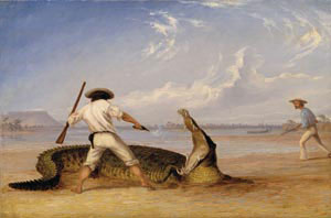 6 The sound of the sky: The Northern Territory in Australian Art 1802-2005 ANITA ANGEL    Image caption: Thomas Baines,   Baines and Humphrey killing an alligator on the Horseshoe Flats, Victoria River 27 June 1856,   1857, oil on canvas. Courtesy of the Royal Geographical Society (with IBG).   As an historical survey and chronological assembly of 'visual responses to the Northern Territory by artists of European descent' over a period of more than 200 years, The sound of the sky exhibition was a museum milestone in a regional and national sense.