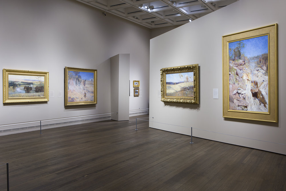 Australia's Impressionists, exhibition installation view, Sunley Room, National Gallery, London, 2017; image courtesy and © The National Gallery, London