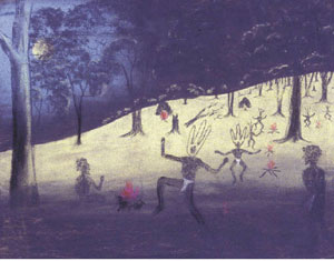 5 Koorah Coolingah – Children long ago: The lost paintings of the Carrolup School JOHN MATEER    Reynold Hart, Spirit figures and possum, Carrolup, 1948, pastel on paper. Courtesy of the University of Western Australia's Berndt Museum of Anthropology.