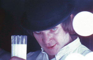 2 Inside the mind of Stanley Kubrik: JOHN CONOMOS    A Clockwork Orange  (GB/USA 1970-71). Alex DeLarge (Malcolm McDowell) in the Korova Milkbar. Copyright Warner Bros. Entertainment Inc. In  Stanley Kubrick: Inside the mind of a visionary filmmaker at the Australian Centre for the Moving Image, Melbourne, from 25 November 2005 to 29 January 2006