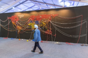 2 Subcontinental shifts: The 9th India Art Fair Sebastian Goldspink,  New Delhi     Reena Saini Kallat,  Woven Chronicle,  2011–16, installation view, 9th Art Fair India, New Delhi, 2017; photo: © Andy Barnham