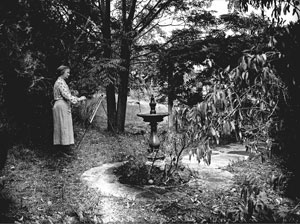 1 Margaret Preston: Art and life: BRUCE ADAMS   Margaret Preston in her garden at Berowra, 1937. Photo F J Halmarick, Fairfaxphotos