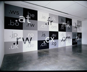 7. Letter from London by SIMEON KRONENBERG Langlands & Bell, domain, 2005, view of installation: wall painting design derived from computer animation projection of internet country codes, water soluble house paint. At Milton Keynes Gallery, Buckinghamshire, UK. Photo Jerry Hardman Jones. Courtesy of the artists and Milton Keynes Gallery.