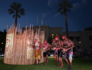 5 Spreading like wildfire: The 'Kulata Tjuta Project' in the APY Lands: Nyurpaya Kaika-Burton,  Amata     Kulata Tjuta Project , installation and inma (ceremony) view, Government House, Adelaide, 9 October 2015; commissioned for 'TARNANTHI: Festival of Contemporary Aboriginal and Torres Strait Islander Art'; image courtesy the Art Gallery of South Australia, Adelaide, and Ernabella Arts, Iwantja Arts, Kaltjiti Arts, Mimili Maku Arts, Ninuku Arts, Tjala Arts and Tjungu Palya; photo: Ben Searcy