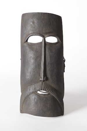 6. Contemporary Atauro carving from Timor-Leste, James Bennett, Darwin   Kai Nai, Mask, mid-late 20th century; wood, presumed white hardwood (Wrightia javanica), initim (AD), ai lalar (T), 36.5 x 16 x 7.5cm; Charles Darwin University Art Collection, Darwin