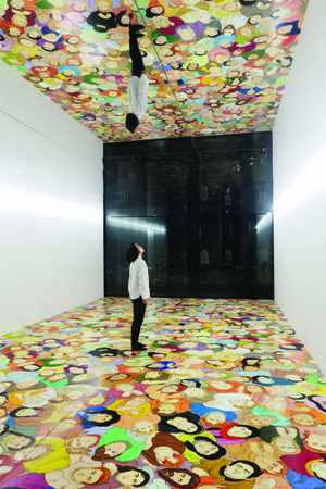 7. N. S. Harsha and Agatha Gothe-Snape in Tokyo: mori Art Museum and the Australian connection, Julie Ewington, Tokyo N. S. Harsha, Sky Gazers, 2010/17, installation view,' N. S. Harsha: Charming Journey', Mori Art Museum, Tokyo, 2017; acrylic on plywood, 975.4 x 488cm; Image courtesy Mori Art Museum, Tokyo, and Victoria Miro, London; photo: Shiigi Shizune
