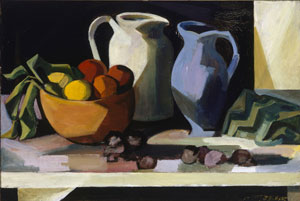 8. Footnotes matter: Jean Bellette Retrospective byDINAH DYSART Jean Bellette, Still Life with wooden bowl, c1954, oil on hardboard. Collection of the Art Gallery of New South Wales. Photo Brenton McGeachie for AGNSW.