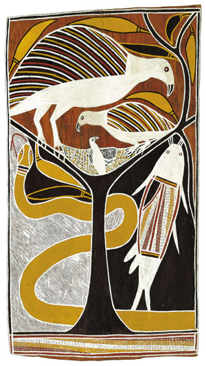 7 MARY EAGLE: The man who looked after everyone:  No ordinary place: The art of David Malangi  IN Canberra   David Malangi Daymirringu,  Dhamala Story (Sea Eagle, Catfish and King Brown Snake) , 1983, natural pigments on eucalyptus bark. Collection of the Art Gallery of New south Wales, Sydney. Photo Brenton McGeachie for AGNSW