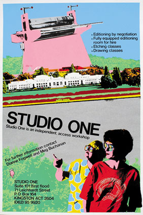 4.  PATSY PAYNE , Out of the box: Exhibitions from the archives of the Australian Print Workshop and Studio One, in Canberra   Toni Robertson, Poster for Studio One, 1983, silkscreen print. Private collection.