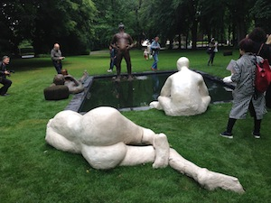 9 Making a Splash: 'Skulptur Projecte Münster 2017': En Young Ahn,  Münster    Nicole Eisenman,  Sketch for a Fountain , 2017, installation view, 'Skulptur Projekte Münster 2017', 2017; Bronze, plaster, basin; Photo: En Young Ahn