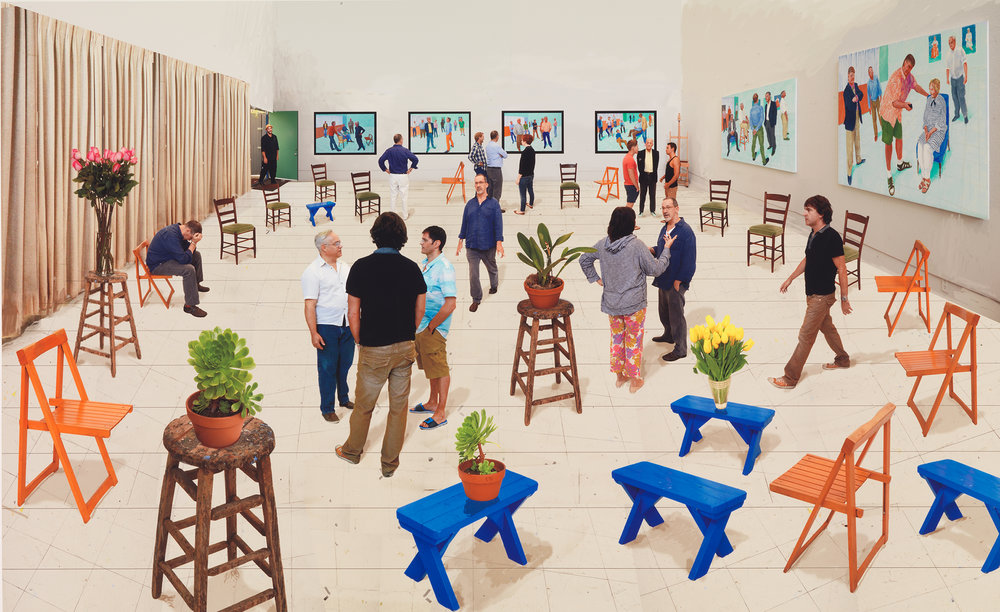 David Hockney,  4 Blue Stools , 2014, photographic drawing printed on paper, mounted on Dibond, edition of 25, 107.9 x 176cm; from the collection of John and Helen Hockney; © David Hockney; photo: Richard Schmidt