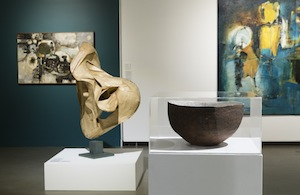 12 Creating shape within shape 'Emu Island' at Penrith Regional Gallery: Christine France, E mu Plains     Emu Island: Modernism in Place,  exhibition installation view, Penrith Regional Gallery & The Lewers Bequest, Emu Plains, 2017, with (from right to left): Marea Gazzard,  Crater,  1963, earthenware, tin and interior glaze, Penrith Regional Gallery & The Lewers Bequest, gift of Tanya Crothers and Darani Lewers, 2001; Lyndon Dadswell,  Untitled,  c. 1965, brown gummed paper on metal support and wooden base, Penrith Regional Gallery & The Lewers Bequest, gift of Tanya Crothers and Darani Lewers, 1980; photo: Silversalt Photography