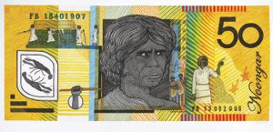 8 Ryan Presley: 'Prosperity'    Blood Money – Fifty Dollar Note – Fanny Balbuk Commemorative , 2011, watercolour on Arches paper, 40.5 x 91.5cm; image courtesy the artist; photo: Carl Warner