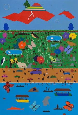 2 NOTES FROM THE FIELD:Chloé Wolifson   Andy Leleisi'uao,  Harmonic Islands , 2018, acrylic on canvas, 101 x76cm; image courtesy the artist and Bergman Gallery, Rarotonga