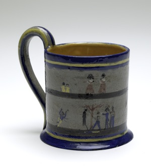 5 violet mace: native or indigenous?: Peter Hughes,  Hobart     Governor Davey's Proclamation board , 1930, ceramic (glazed earthenware) cup, 10.6 x 12.4 x 9.3cm (dia.); inscribed in clay on the underside: 'Governor Davey's / Proclamation to/ the Aborigenes / Tasmania 1816'; presented by Elaine Downie, 2016; image courtesy TMAG, Hobart