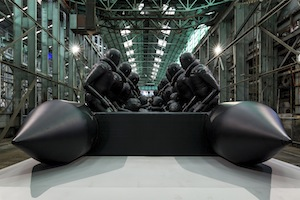 8 connecting the foreign with the familiar: the 21st biennale of sydney: tai mitsuji,  sydney    Ai Weiwei,  Law of the Journey , 2017, installation view, Cockatoo Island, 21st Biennale of Sydney, 2018; reinforced PVC with aluminium frame, 312 figures, 60 x 6 x 3m; presented in Sydney with support from the Sherman Foundation; image courtesy the artist and neugerriemschneider, Berlin; photo: Document Photography
