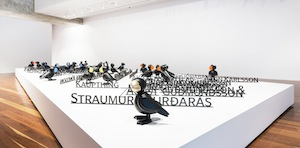 4 a celebration of life force: 'divided worlds',   chris reid,  adelaide     emily floyd,  icelandic puffins,  2017, installation view, 'divided worlds', anne & gordon samstag museum of art, adelaide, 2018; photo: saul steed