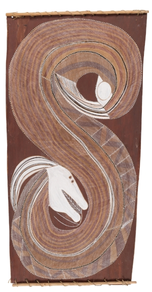 7 Kamak!: The mercurial art of john mawurndjul   John Mawurndjul,  Ngalyod , c. 1981, earth pigments on stringybark ( Eucalyptus tetrodonta ), 120 x 61.5 x 30cm; Berndt Museum Collection, The University of Western Australia, Perth; © John Mawurndjul/Licensed by the Copyright Agency, 2018; photo: Berndt Museum