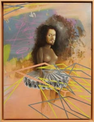 1 Peter Daverington: Shapeshifter: KIRSTEN RANN   Peter Daverington,  Self-portrait with Rembrandt's Tutu , oil, marker and enamel on canvas, 2011, 33 x 43cm. courtesy the artist and Arc One Gallery, Melbourne