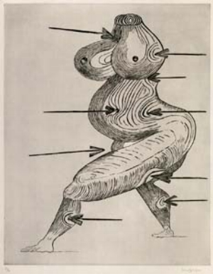 1 Ecstasy and melancholy from the Masters of emotion at the Mornington Peninsula Regional Gallery, Victoria HUGH HUDSON   Louise Bourgeois,  St Sébastienne , 1992, drypoint, edn 36/50, private collection, Melbourne.