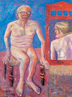 9 Owen Gower Lade 1922–2007: big artist in a small city: DANIEL THOMAS   Owen Lade,  Yours Sincerely,  1988, oil on board. Collection of Luke Wagner, Hobart