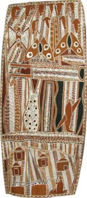 9 Brian Njinawanga Campion (c.1934 – 2008): DR CHRISTIANE KELLER & LUDGER DINKLER   Brian Njinawanga Campion,  Malnyangarnak Story , 1978, natural ochres on bark. Collection National Gallery of Victoria. Courtesy the artist's estate