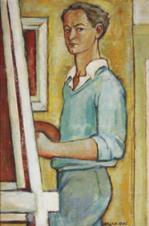 6 Geoffrey Goldie (1921 – 2007) SAM SCHOENBAUM Geoffrey Goldie, Self-portrait, 1946, oil on canvas. Courtesy the artists estate. The Australian artist Geoffrey Goldie was born on 14 November 1921, into a farming family in Port Fairy, a fishing village in Victoria. As a gifted child he pursued his interest in the visual arts with encouragement from his family. He began art study in a regional tertiary institute. After six years in the Australian army he returned to his studies (1947-49) in Melbourne with the modernist painter, George Bell, who emphasised form and structure. Goldie's art was included in a 1992 exhibition, Classical Modernism: The George Bell Circle, at the National Gallery of Victoria. The human figure, interiors, and still lifes in a cubistic style carried the look of the time.