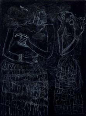 13 Without Borders: Outsider Art in an Antipodean Context: MONICA SYRETTE   Alvaro Alvarez,  Untitled (Two figures),  2003, pencil on canvas. Collection Arts Project Australia
