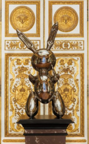 6 Jeff Koons in the Palace: WES HILL   Jeff Koons,  Rabbit , 1986, stainless steel, 104.1 x 48.3 x 305.cm. Installed in Le Salon de l'Abondance (in the King's Grand Apartment)