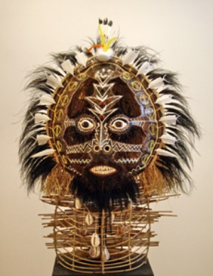 2. The Masks of Merlam & the Shining Swords of Australian Art Awards, by DARREN JORGENSON Ricardo Idagi, Malo Mask, 2008, turtle shell, cowrie shells, mussel shells, feathers, raffia grass, wicker cane, saimi saimi seeds, natural earth pigment, 157 x 120 x 70cm. Image courtesy the artist and Vivien Anderson Gallery, Melbourne.