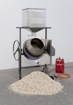 16 Letter from Art Forum Berlin: WES HILL   Michael Sailstorfer,  1:43 - 48 , 2009, iron, aluminum, electronic units, popcorn. Courtesy the artist and Galerie Johann König, Berlin