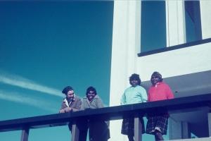 12 because of her, we can!: revisiting early women's art at ernabella: hannah kothe   Marea Gazzard, Yipati Kuyata Williams, Yayampi Brown and Nyukana (Daisy) Baker at a lighthouse, South Coast, New South Wales, 1971; image courtesy Sturt Permanent Collection, Mittagong