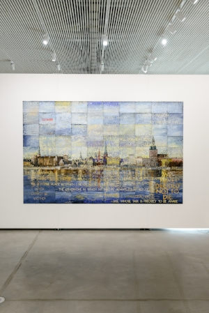 6 looking, rEADING AND THINKING: imants tillers's 'journey to nowhere': jenny harper,  riga     Imants Tillers: Journey to Nowhere , exhibition installation view, Latvian National Museum of Art, Riga, 2018, featuring:  Journey to Nowhere , 2017, acrylic, gouache on 90 canvas boards, 228.5 x 355cm; courtesy the artist and Roslyn Oxley9 Gallery, Sydney; photo: Otto Strazd