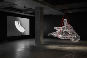 7 against alienation: speculating on the post-human at mona: oscar capezio,  hobart    Toby Ziegler,  Your shadow rising , exhibition installation view, Museum of Old and New Art (MONA), Hobart, 2018, with (from left): It'll soon be over (exquisite corpse), 2018, and The human engine, 2018; image courtesy the artist and MONA, Hobart; photo: MONA/Jesse Hunniford