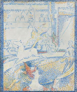 12 The other Starry Night: Post-impressionists from the Orsay, DIANA KOSTYRKO   Georges Seurat,  The circus  (sketch), 1891, Musée d'Orsay, Paris. © RMN (Musée d'Orsay) / Hervé Lewandowski.