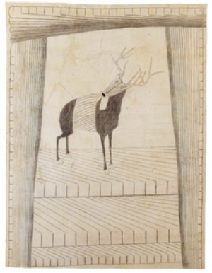 15 Letter from Madrid: Martín Ramírez, Works of Reclusion JUSTINE BAYOD ESPOZ Untitled (Deer), c. 1953, crayon and pencil on paper, 119 x 91cm, Collection ABCD, Paris
