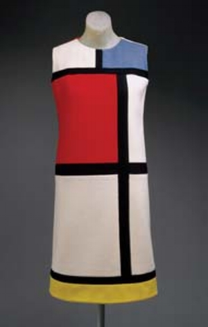 1 Fashion and Art: Critical Crossovers ADAM GECZY & VICKI KARAMINAS YVES SAINT LAURENT, 'MONDRIAN' DAY DRESS, AUTUMN 1965, wool jersey in color blocks of white, red, blue, black, and yellow. Gift of Mrs. William Rand, 1969. Collection: Metropolitan Museum of Art, New York.  Image courtesy Metropolitan Museum of Art.
