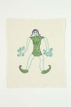 11 Unleashed: the uncensored world of blogging with Tracey Clement: NAOMI GALL   Tracey Clement,  Gecko Girl , embroidery on Irish linen, framed 35 x 35cm, 2010, based on an original drawing from c. early-mid 1970s made by Clement and her father Rob. Photograph by Richard Glover
