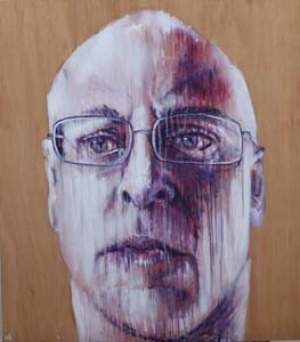 13 Adam Knott: the artist a.k.a ...: CHRISTINE WESTWOOD   Adam Knott,  Self-portrait , 2011, acrylic on found timber, 102.68 x 116.84cm; courtesy the artist