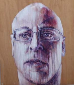 13 Adam Knott: the artist a.k.a ... CHRISTINE WESTWOOD Adam Knott,Self-portrait, 2011, acrylic on found timber, 102.68 x 116.84cm; courtesy the artist.