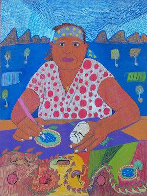 14 kunmanara nampitjinpa M. boko (nee williams) 1953 - 2017   Kunmanara M. Boko,  Self Portrait , 2013; image courtesy Tangentyere Artists, Alice Springs; © the artist's estate and Tangentyere Artists, Alice Springs