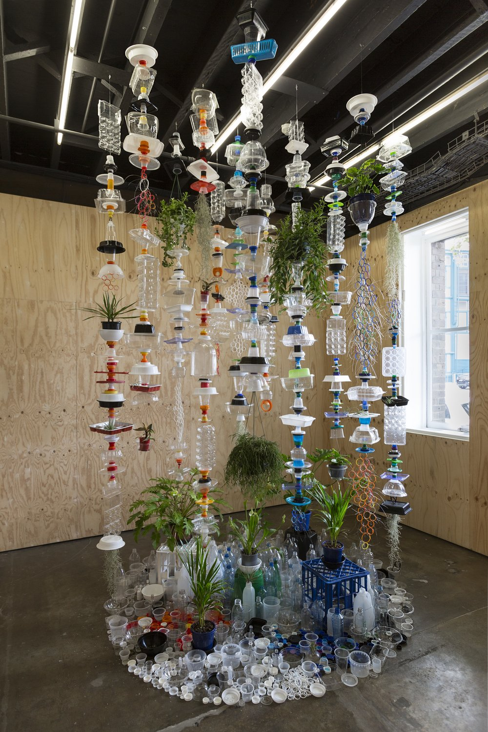 6 lauren berkowitz's fragile structures; Emma-Kate wilson   Lauren Berkowitz,  Plastic Topographies , 2018, installation view, Ideas Platform, Artspace, Sydney, 2018; plastic and plants, 300 x 200 x 200cm; image courtesy the artist; photo: Jessica Maurer