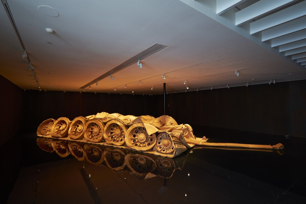 9 viscerally yours, china; mikala tai   He Xiangyu,  Tank Project , 2011–13, installation view, 'Heavy Artillery', White Rabbit Gallery, Sydney, 2016; Italian leather, 890 x 600 x 150cm; image courtesy White Rabbit Collection, Sydney; photo: David Roche