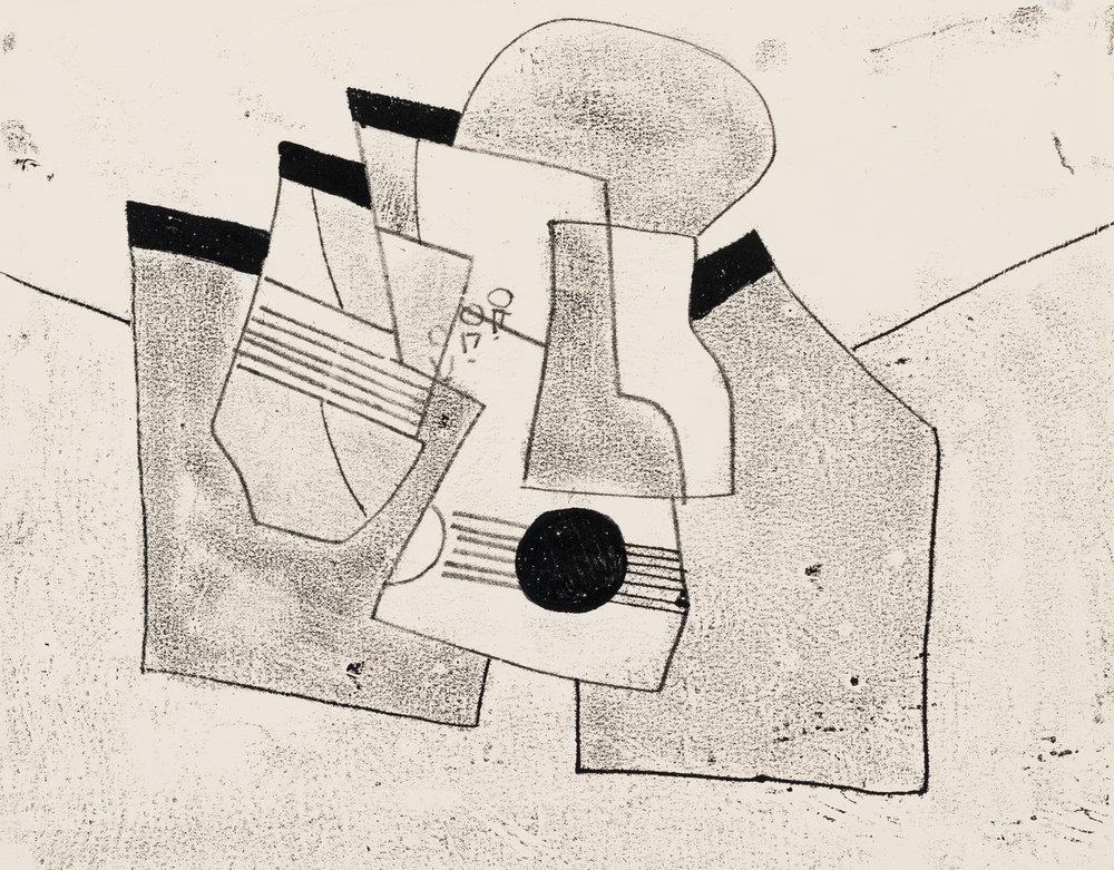 3 finding freedom; hirschfeld-Mack at geelong gallery: Sally groom  geelong    Ludwig Hirschfeld-Mack,  Musical instruments , 1950–65, monotype; Geelong Gallery, gift of Mrs Olive Hirschfeld, 1976
