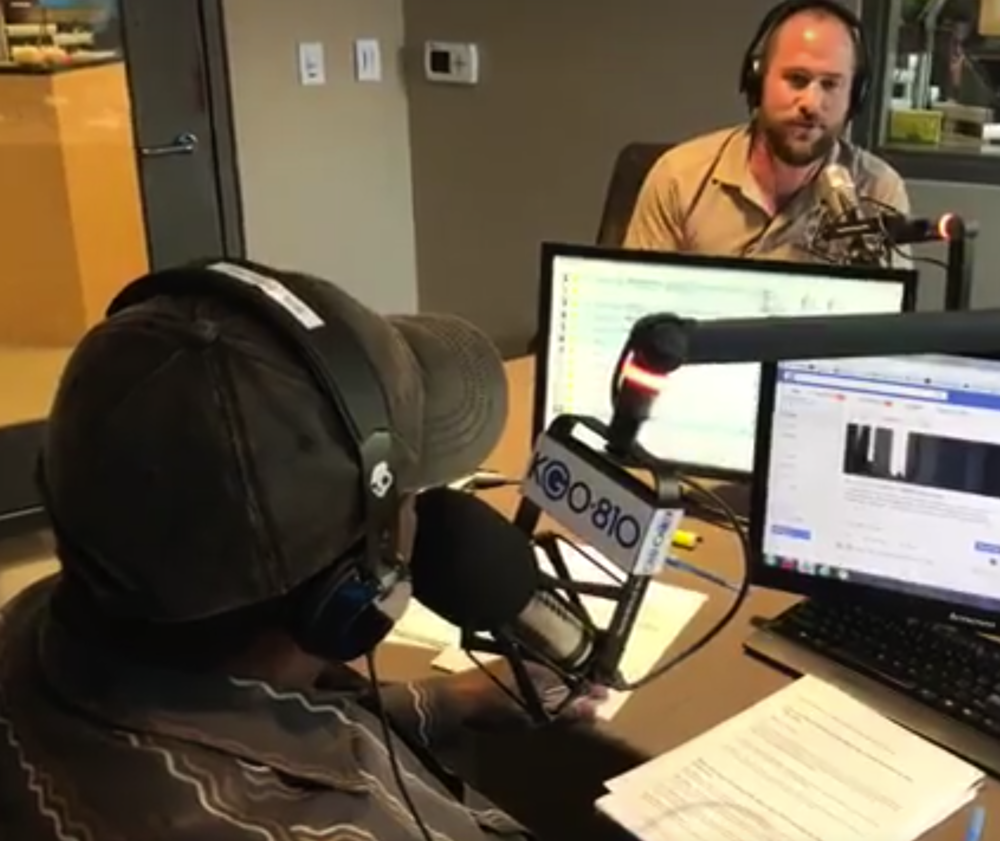 "J.J. Panzer ""The Smart Apartment Advisor"" in the studio on KGO Radio's Brian Copeland Show"