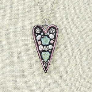 Lovely pink themed silver tone heart shaped pendant necklace with lovely pink themed silver tone heart shaped pendant necklace with flower beads and seed beads aloadofball Image collections