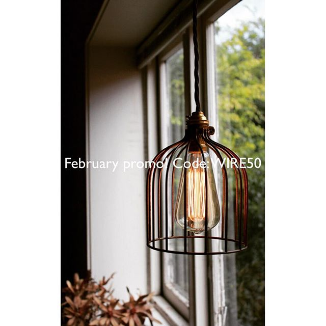 Get 50% off our wire cage pendant lights this month! Use code: WIRE50. Ends 28th February! #discountcode #promocode #lighting #wirecage #cagelight #cagelamp #industriallighting #pendantlight #rusticdecor #industrialdecor #scandidecor #decoration #homedecor #restaurantlighting #barlighting #styleinspo #interiordesign #interiordecor #hanginglight #vintagelighting #retro #retrolight #sale