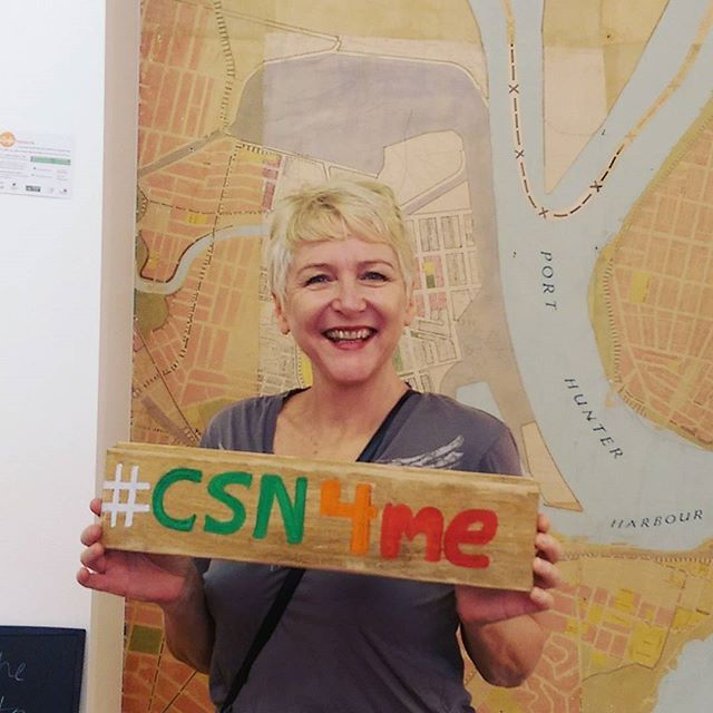 This is Claire. She is standing in front of an old #map of #Newcastle preserved in the Watt Space Gallery... The future map of Newcastle? We think it should include shared paths for all.  #CSN4me