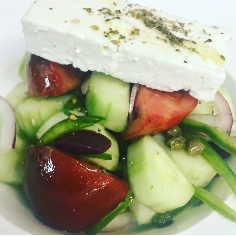 Spelt greek salad
